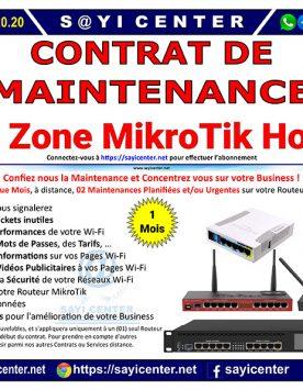 Contrat de Maintenance (1 Mois) de votre Wi-Fi Zone MikroTik Hotspot