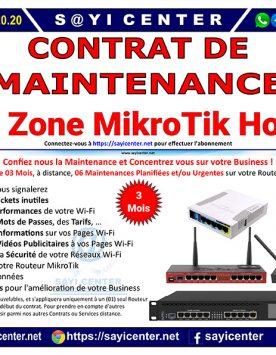 Contrat de Maintenance (3 Mois) de votre Wi-Fi Zone MikroTik Hotspot